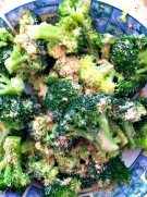 Broccoli with Annie's lite honey mustard, flax meal and sea salt.  Another gluten-free recipe.