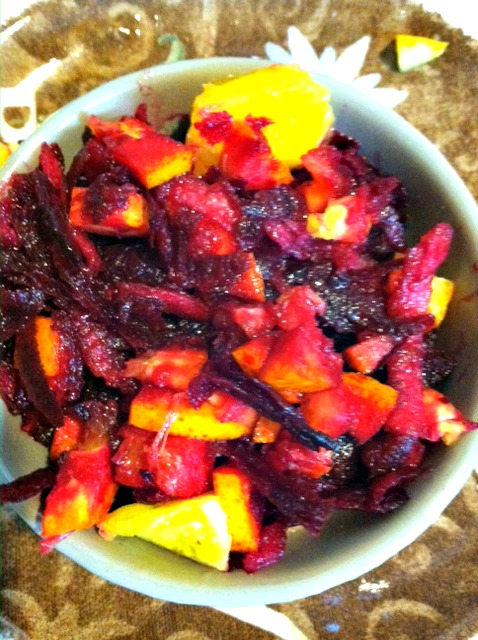 The beet salad shown here is an excellent example of the synergy between a naturally occurring iron rich food AND the citrus food high in vitamin C to compliment absorption.