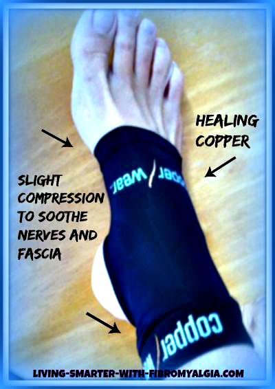 Copper wear compression sleeves for fibromyalgia foot pain