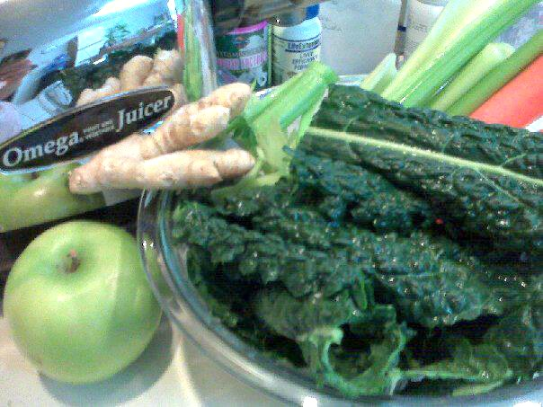 My favorite organic juice combination ..lacinato kale, celery, carrot, green apple, ginger root