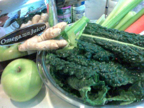 My favorite organic juice combination ..lacinato kale, celery, carrot, green apple, ginger root