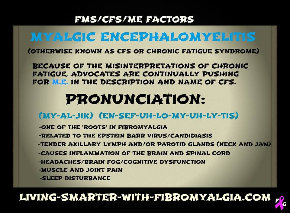 Chronic fatigue syndrome (CFS or CFS/ME) shares many symptoms with fibromyalgia and is often an accompanying condition.