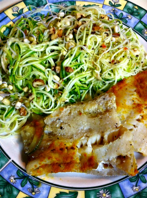 Dinner tonite was wild caught fish and  spiraled raw zucchini with sprouted mung  beans and walnuts.