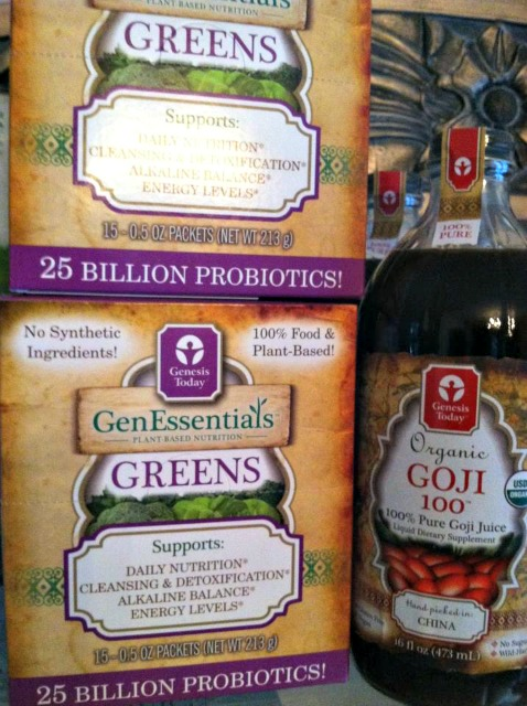 Goji  Berry Extract, a great antioxident AND Organic Greens Powder free of allergens.