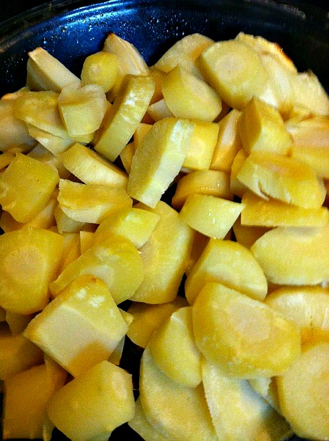 Cut & peeled parsnips.
