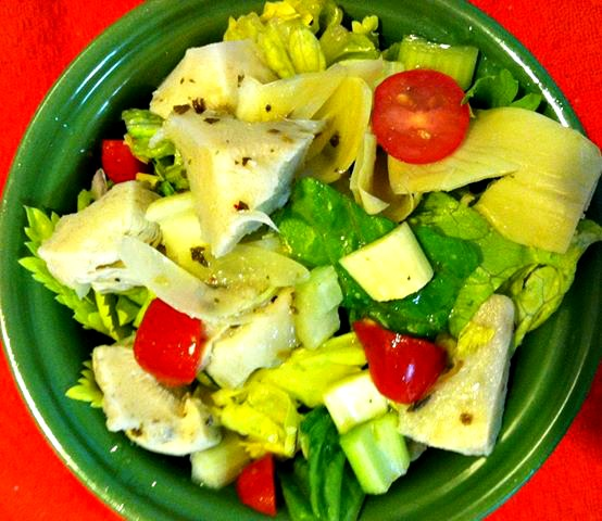 artichoke, celery and romaine veggie hearts