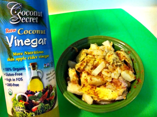 organic red potato salad with coconut vinegar and spices.