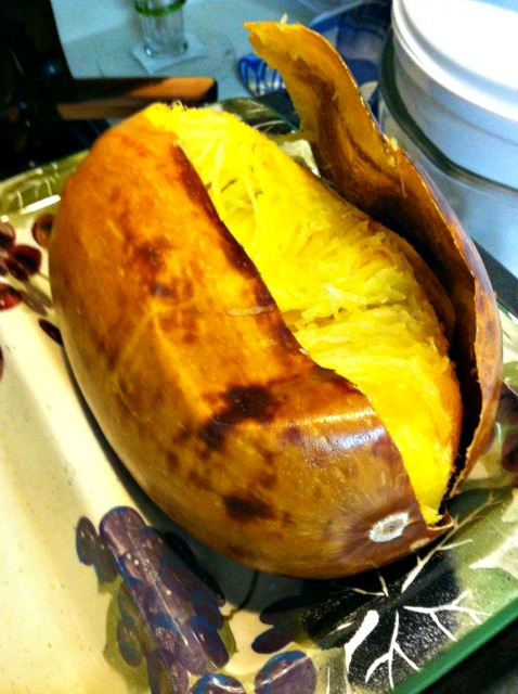 When cooking a spaghetti squash, always cook WHOLE to seal in the flavor.