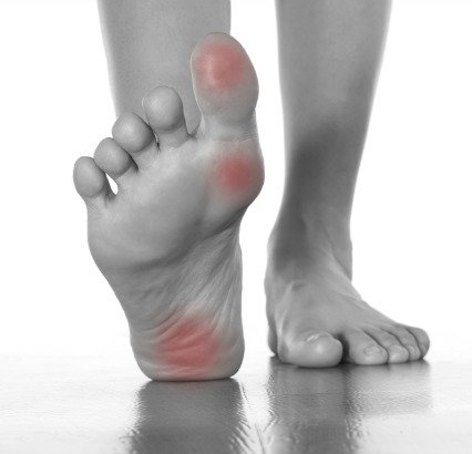 Another fibromyalgia trigger point that can aggravate the fibro body first thing in the morning is around the fascia on the bottoms of the feet .
